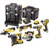 """<p><h5>Cordless impact drill DCD796</p></h5> <p><ul class=""""unordered-list""""> <li>Maximum torque: 70 newton meters and 15 torque settings</li> <li>Drill capacity wood: 40 millimeters</li> <li>Variable rotational speed</li> </ul></p> <h5>Impact screwdriver DCF887 </h5> <p><ul class=""""unordered-list""""> <li>Maximum torque: 205 newton meters</li> <li>3 Speeds</li> <li>3 LED lights</li> </ul></p> <h5>Multi-tool DCS355</h5> <p><ul class=""""unordered-list""""> <li>20.000 rotations per minute</li> <li>Variable speed</li> <li>LED lighting</li> </ul></p> <h5>Angle grinder DCG412 </h5> <p><ul class=""""unordered-list""""> <li>125-millimeter grinding disc</li> <li>Low vibration values</li> <li>Milled steel spiral toothing</li> </ul></p> <h5>Circular saw DCS391</h5> <p><ul class=""""unordered-list""""> <li>165-millimeter saw blade</li> <li>Variable rotational speed</li> <li>Maximum saw depth: 55 millimeters</li> </ul></p> <h5>Combi hammer DCH273</h5> <p><ul class=""""unordered-list""""> <li>Drilling and breaking</li> <li>3,1 kilograms</li> <li>LED lighting</li> </ul></p>"""