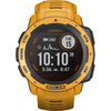 <p>With the Garmin Instinct Solar Yellow, you can keep an eye on your health for an extra long time. During long expeditions, the watch charges itself with solar energy. Thanks to this solar technology, the battery lasts up to 24 days. The watch is shockproof and resistant to big temperature differences. This makes the watch suitable for any adventure or profession. Additionally, the Instinct is water-resistant up to a depth of 100 meters. This means you can safely dive into the water with it. This smart watch measures your heart rate, steps, and sleep, among other things. Unlike its predecessor, the Garmin Instinct Solar also measures your fitness age, recovery time, and detects a potentially irregular heartbeat. The watch is equipped with a GPS sensor. You can load your own routes and the Instinct Solar shows you the way.</p>  <p><small>Note: a charger adapter isn't included. Do you want to charge the watch via a socket? If so, order a charger adapter separately.</small></p>  <p><strong>This watch is suitable for a wrist circumference of 17 to 19 centimeters.</strong></p>