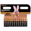 Duracell Alka Plus AAA batteries 12 units