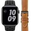 Apple Watch Nike SE 44mm Space Gray Zwart Bandje + DBramante1928 Leren Bandje Bruin