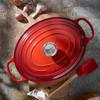 bovenkant Ovale Stoof-/Braadpan 23 cm Kersenrood