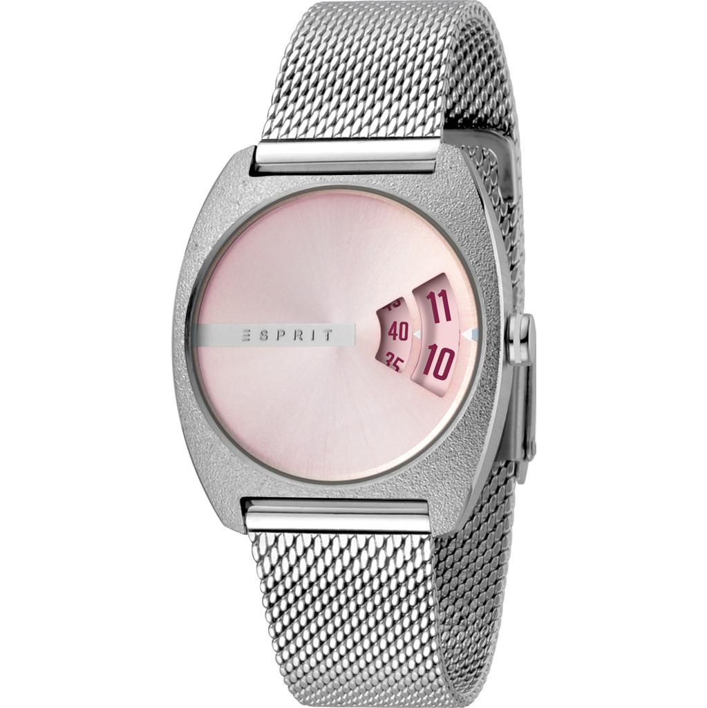 Esprit Horloge Disc staal 32 mm zilverkleurig-lichtroze ES1L036M0055