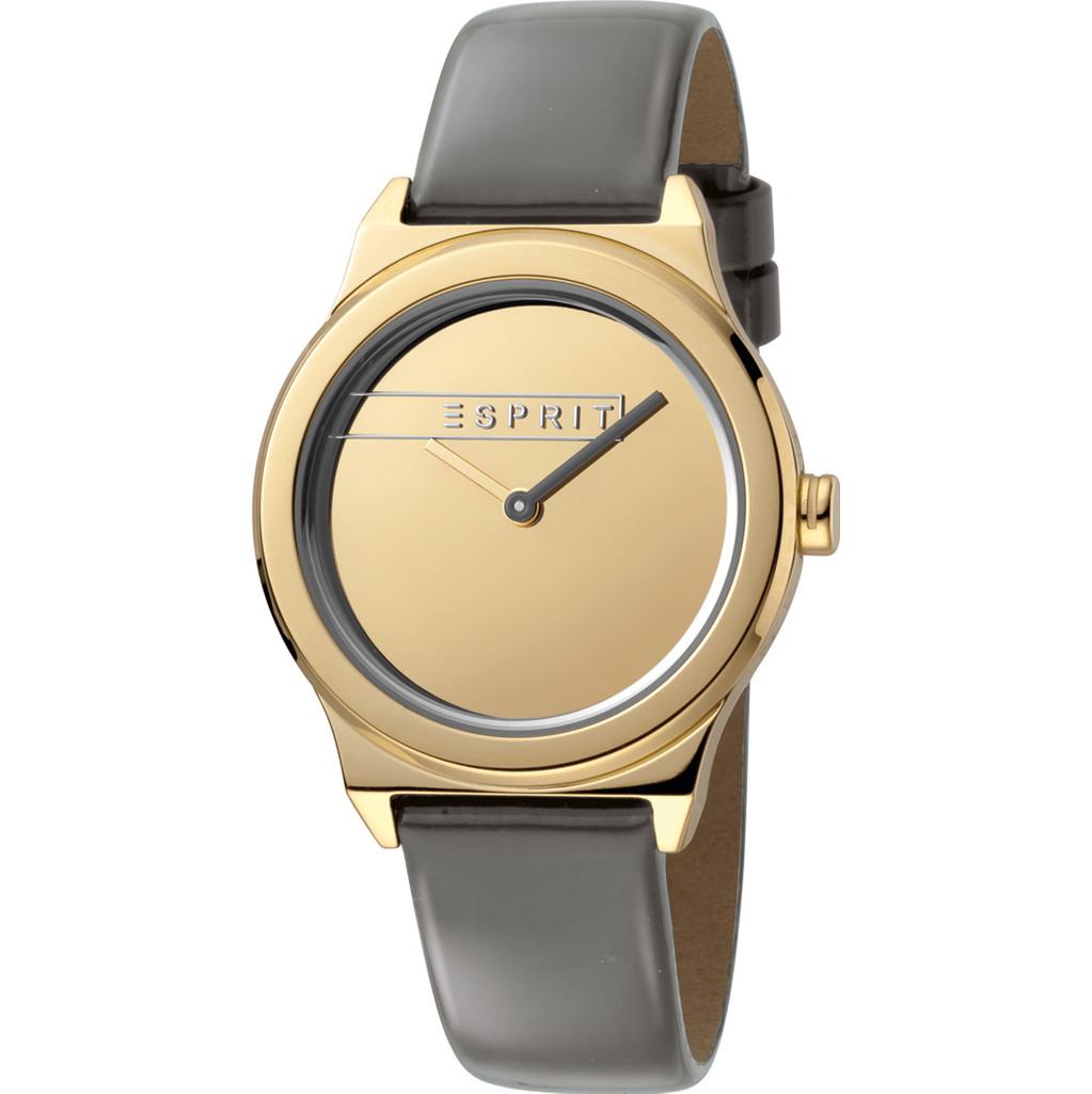 Esprit Horloge Magnolia staal-leder 34 mm goudkleurig-grijs ES1L019L0035
