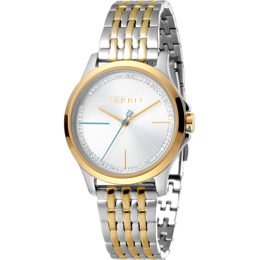 Esprit Horloge Joy staal 32 mm zilver- en goudkleurig ES1L028M0095
