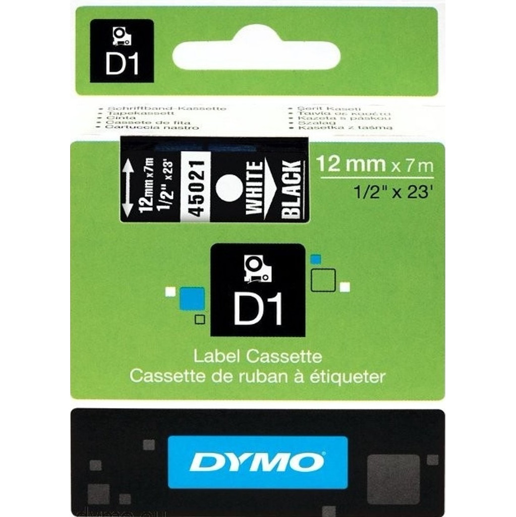 Dymo D1 Naamlabels Zwart-Wit (12 mm x 7 m) in Dongelberg
