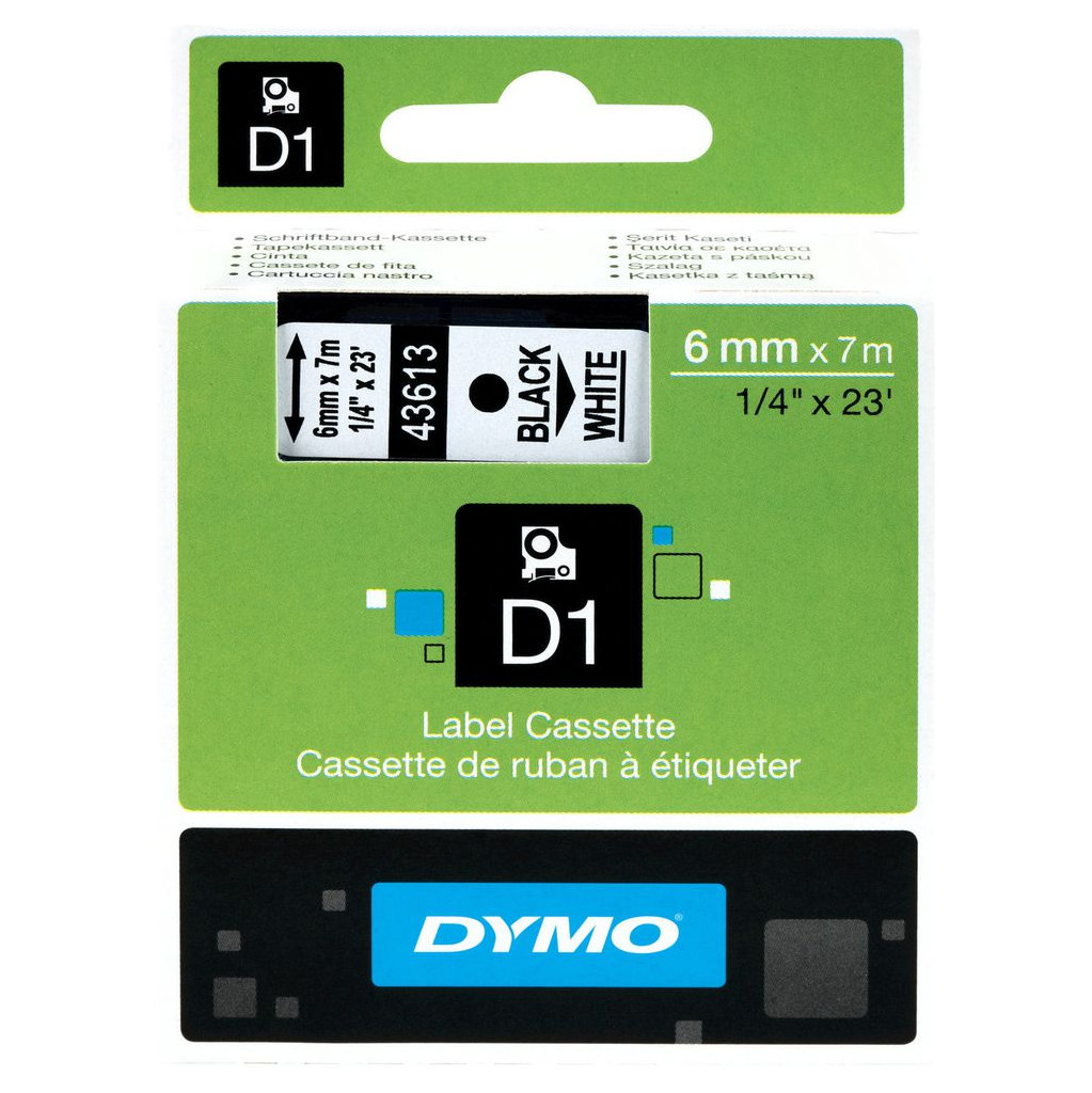 Dymo D1 Naamlabels Zwart-Wit (6 mm x 7 m) in Landenne