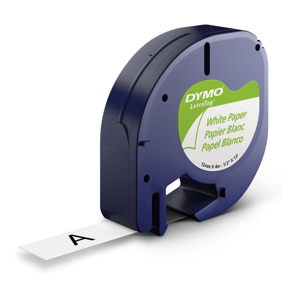 DYMO LetraTag Lettertape Papier Zwart op Wit (12mm x 4m) in Zweekhorst