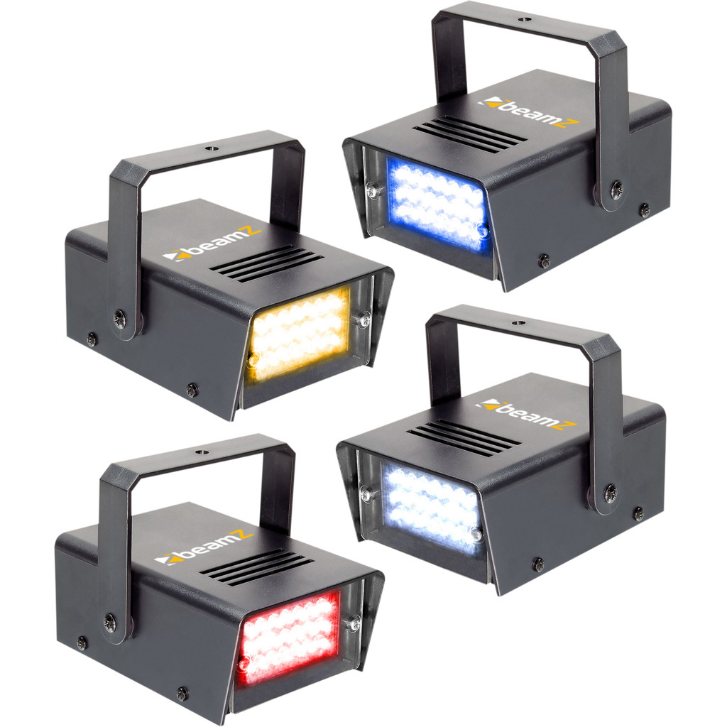 Beamz LED Mini Strobe Set 4pcs. W/R/Y/B kopen