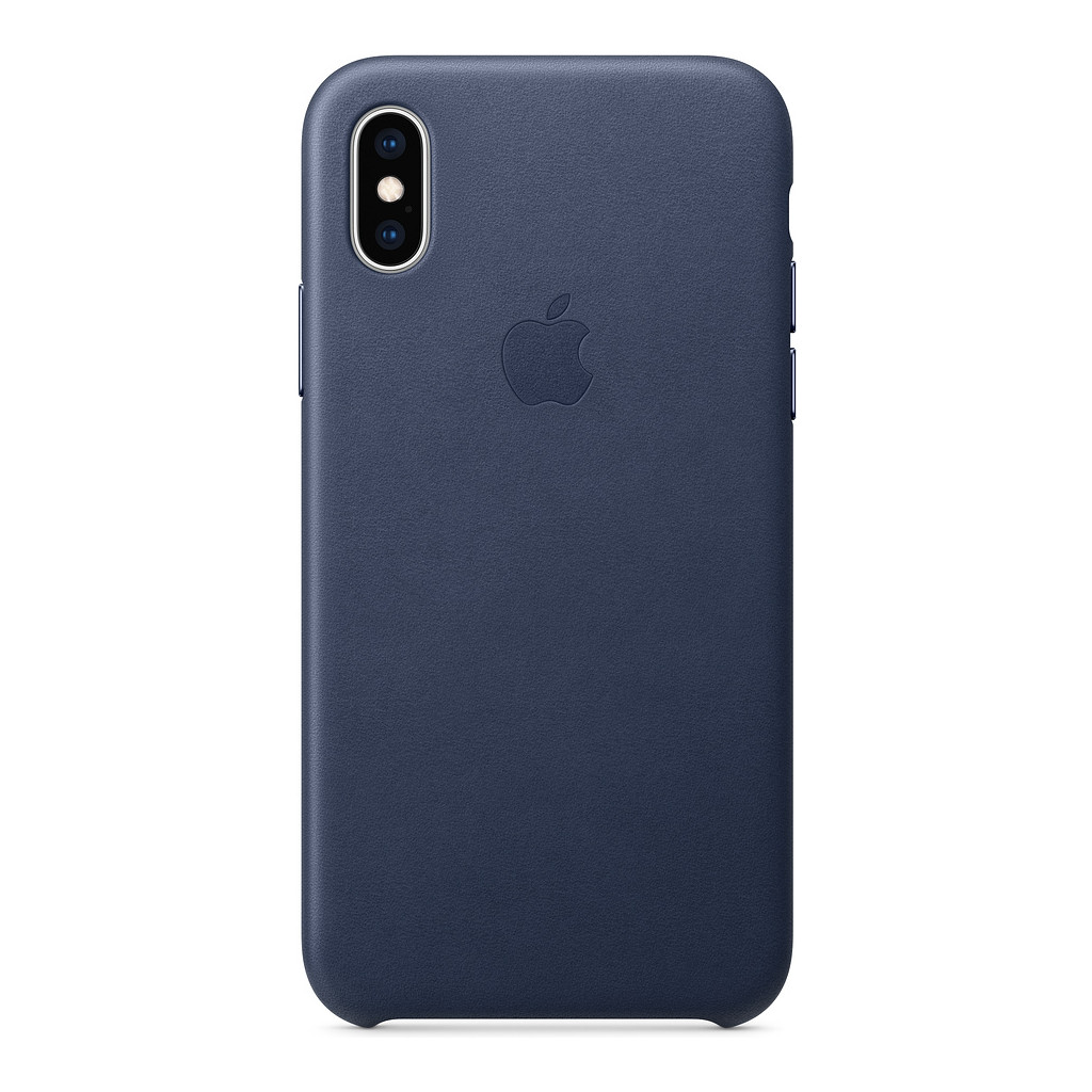 Apple iPhone Xs Leather Back Cover Middernachtblauw