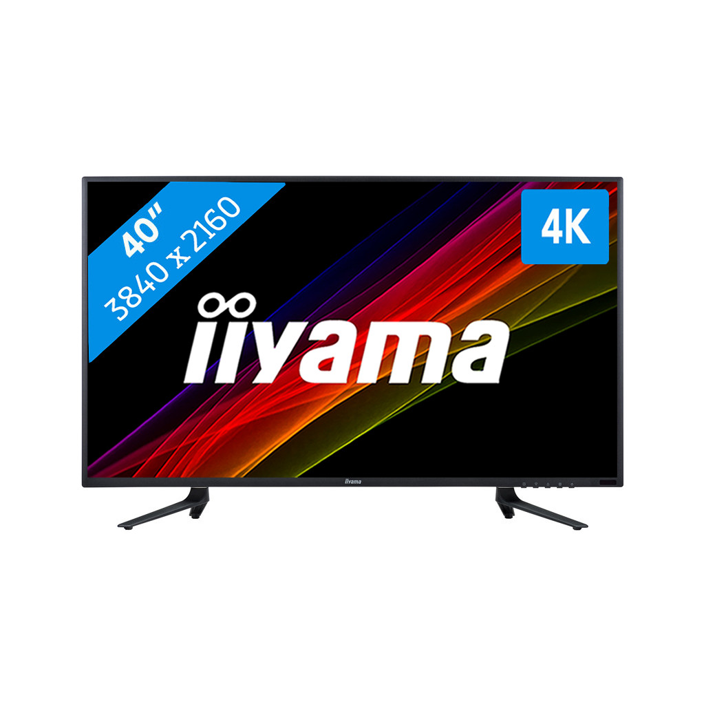 iiyama ProLite X4071UHSU-B1-40 inch  3840 x 2160 resolutie  DisplayPort, HDMI, VGA en usb 3.0  VA paneel  3 ms reactietijd