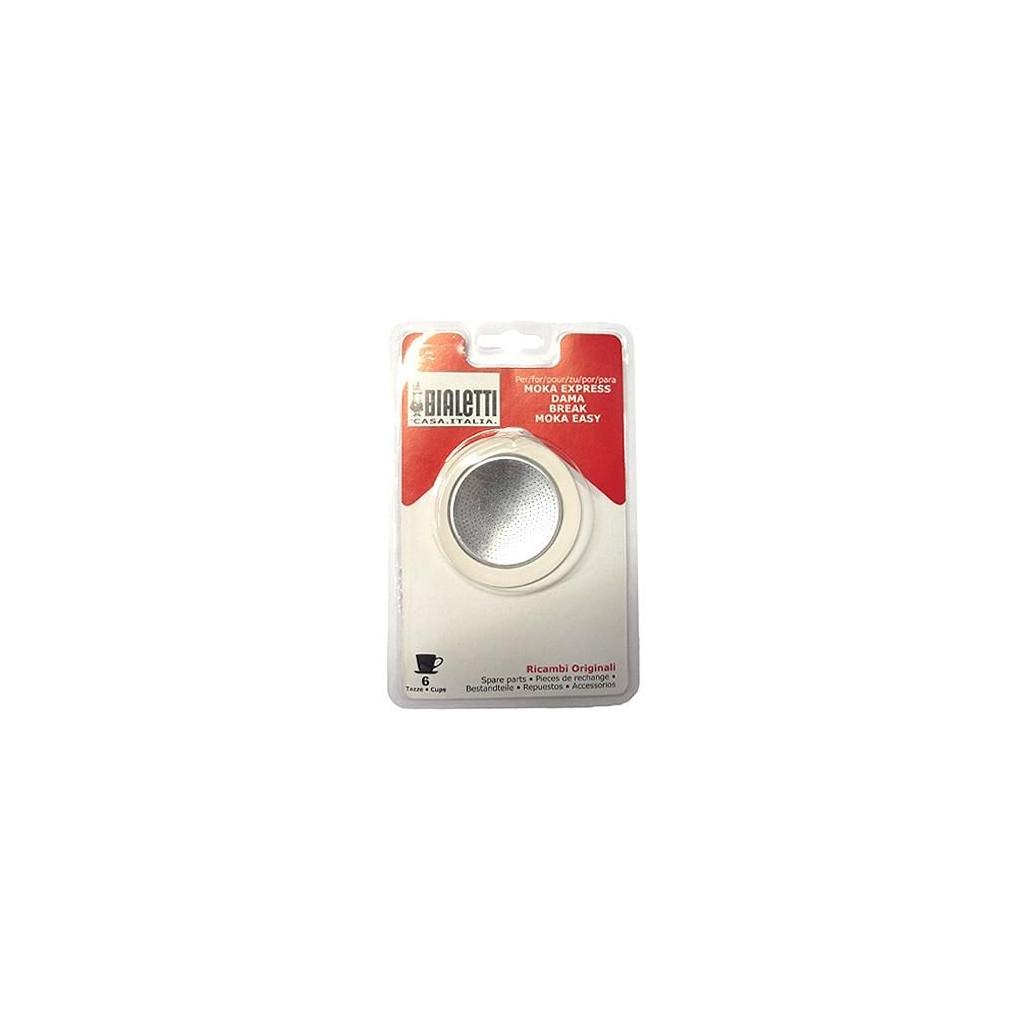 Afbeelding van Bialetti Filterplaatje + Rubber Ring 6 kopjes koffiefilter