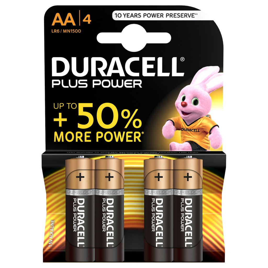 Duracell Plus Power alkaline AA-batterijen 4 stuks