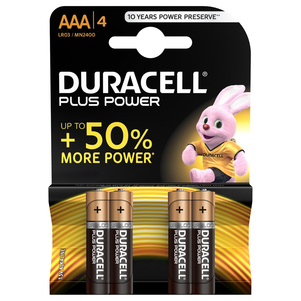 Duracell Plus Power alkaline AAA-batterijen 4 stuks