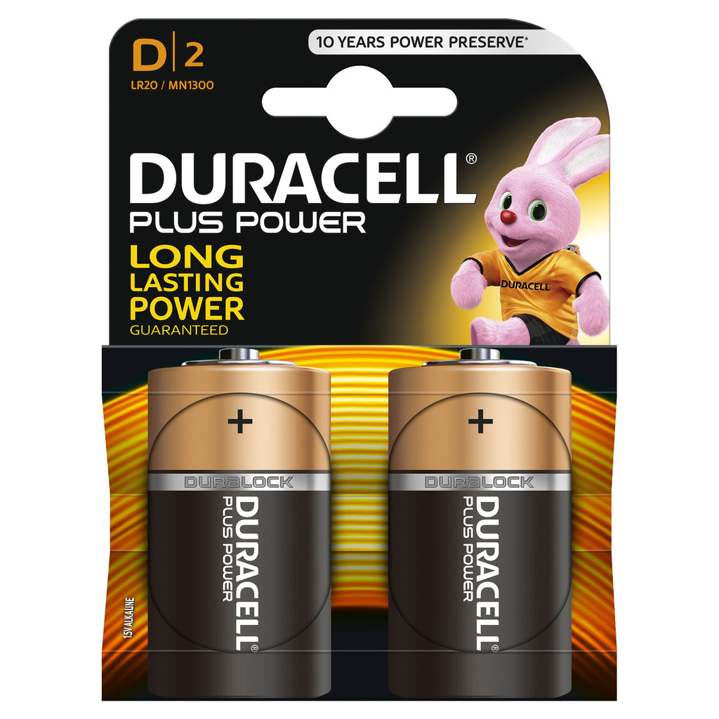 Duracell Plus Power alkaline D-batterijen 2 stuks