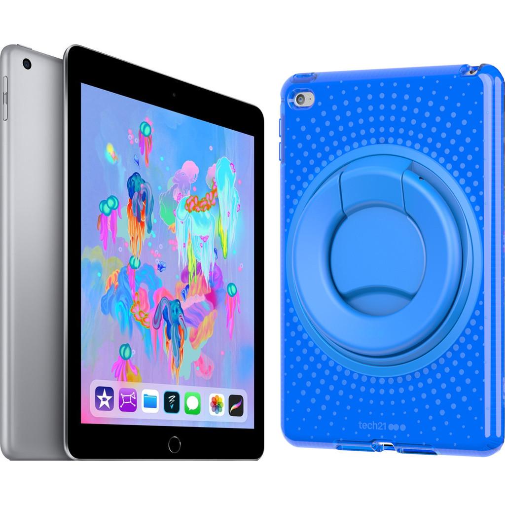 Apple iPad (2018) 32 GB Wifi + Evo Play2 Back Cover Blauw