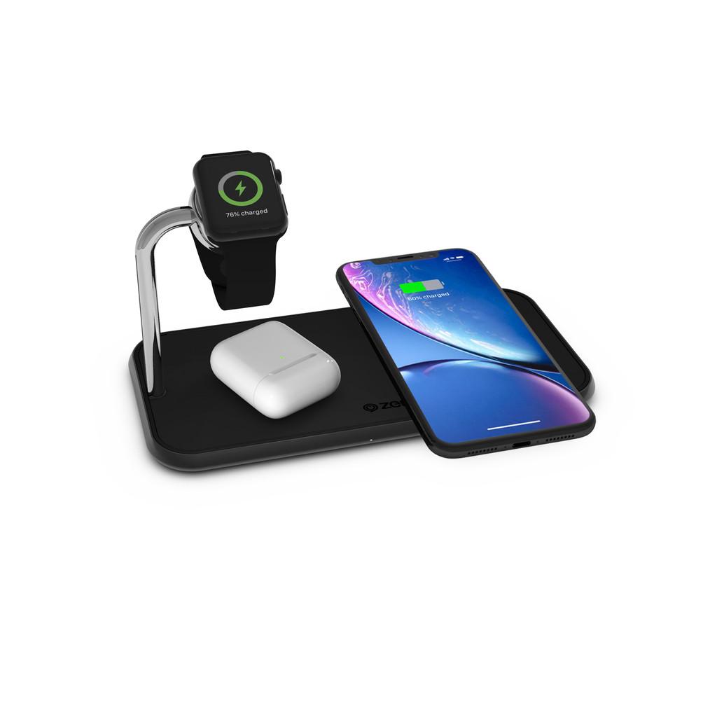 ZENS Dual & Watch Aluminium Draadloze Oplader 10W Zwart