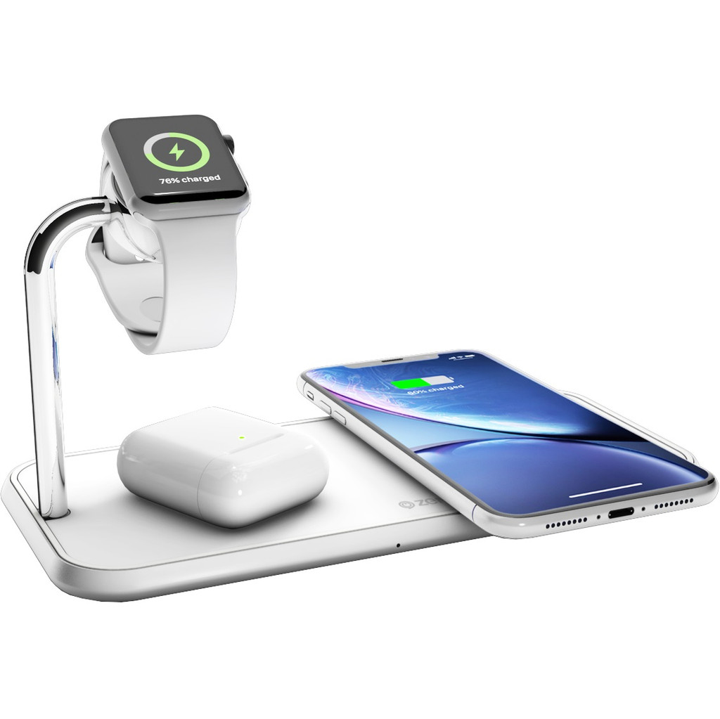 ZENS Dual & Watch Aluminium Draadloze Oplader 10W Wit