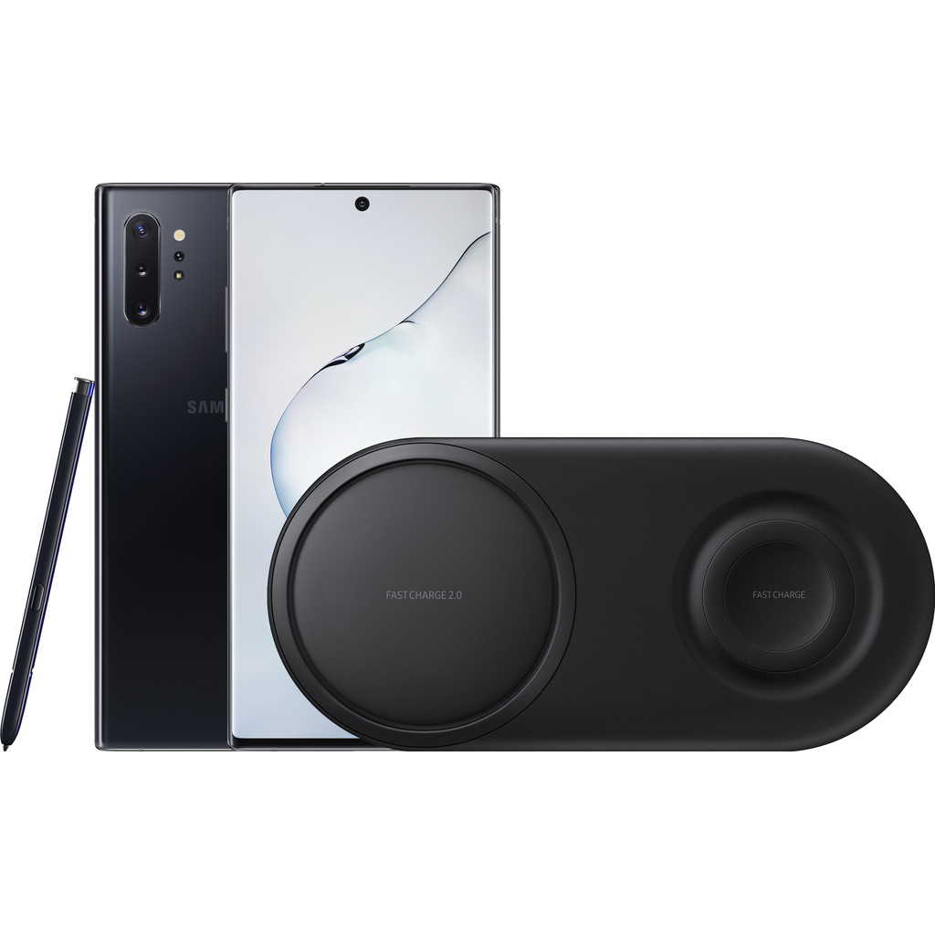 Samsung Galaxy Note 10 Plus 256GB Zwart + Samsung Draadloze Oplader DUO Pad Zwart-256 GB opslagcapaciteit  6,8 inch quad hd scherm  Android 9.0 Pie