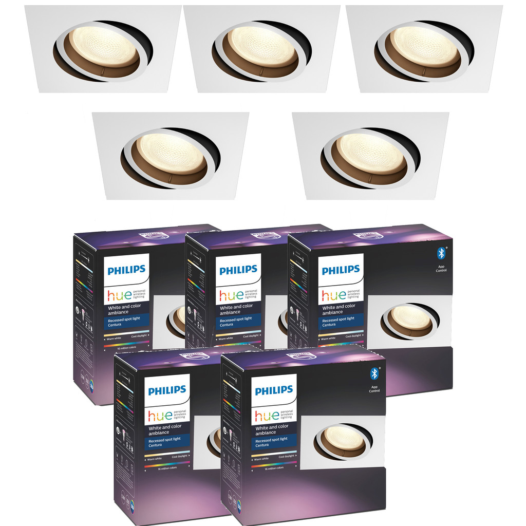 Philips Hue Centura Inbouwspot White Colour vierkant wit 5 Pack