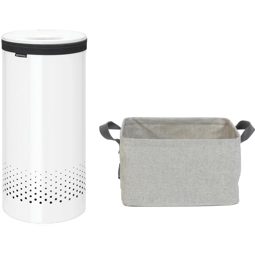 Brabantia Wasbox 35 liter kunststof wit + Wasmand Opvouwbaar Wasmanden