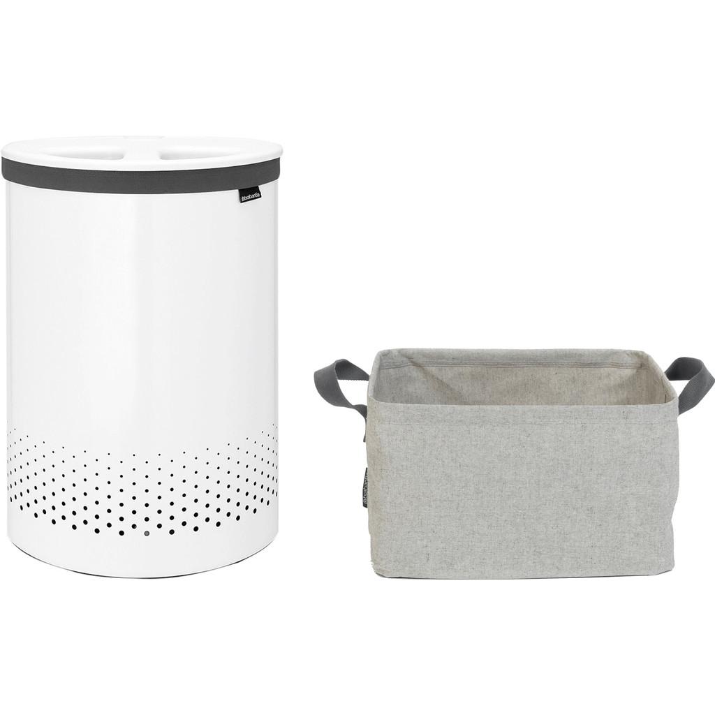 Brabantia Wasbox 55 liter 'Selector' Wit + Wasmand Opvouwbaar Wasmanden