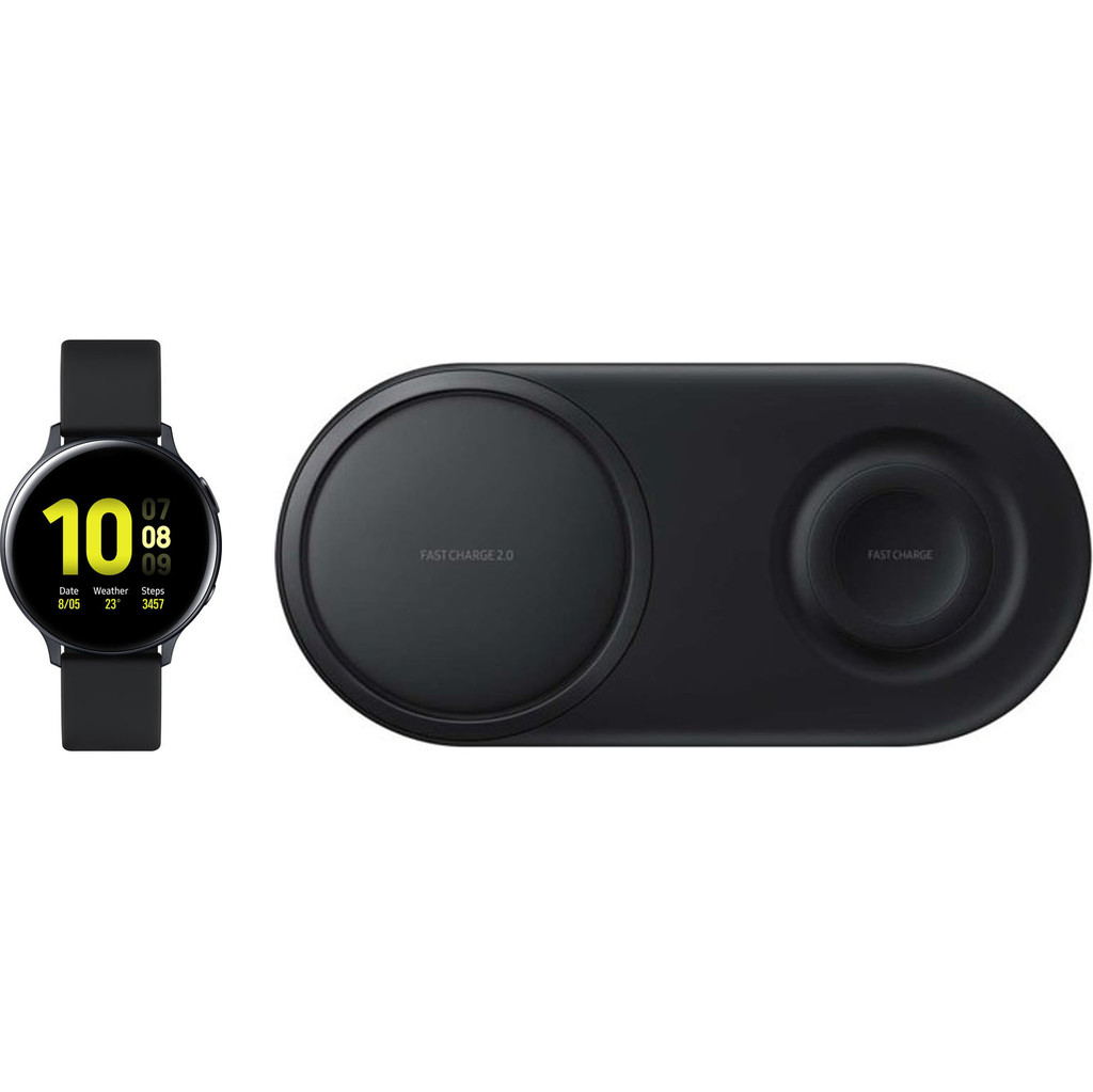 Samsung Galaxy Watch Active2 Zwart 44 mm Samsung Draadloze Oplader DUO Pad Zwart