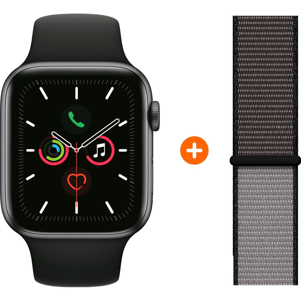 Apple Watch Series 5 40mm Space Gray Zwarte Sportband + Nylon Sport Loop Anchor Gray kopen