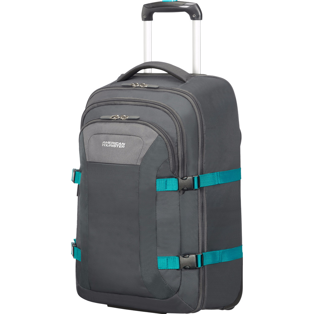American Tourister Road Quest Laptop Backpack Wheels 15.6 grey-turquoise Reistas