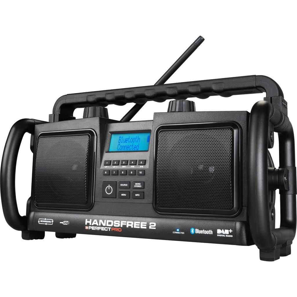 DAB+ Bouwradio PerfectPro Handsfree 2 AUX, Bluetooth, FM, USB Accu laadfunctie, Handsfreefunctie, Sp