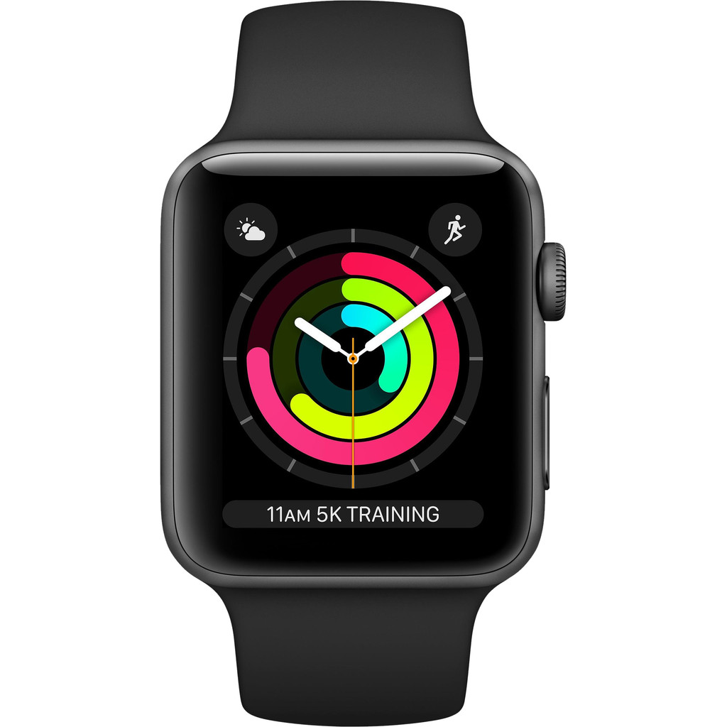APPLE Watch Series 3 38mm spacegrijs aluminium-zwart sportbandje