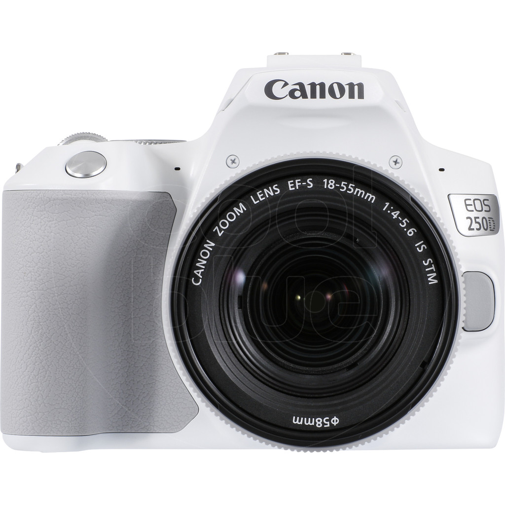 Canon EOS 250D Wit + 18-55mm f/4-5.6 IS STM-24,1 megapixels, filmt in Full HD 1080p  Met wifi, bluetooth en NFC  Inclusief 18-55mm lens
