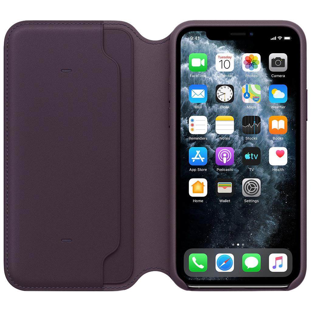 Tweedekans Apple iPhone 11 Pro Max Leather Folio Aubergine