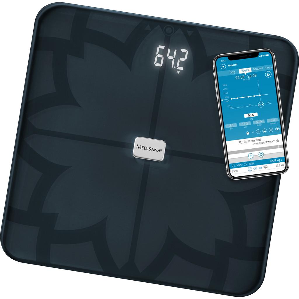 Medisana BS 450 sw Analyse-personenweegschaal Weegbereik (max.)=180 kg Zwart Met Bluetooth, ITO-sens
