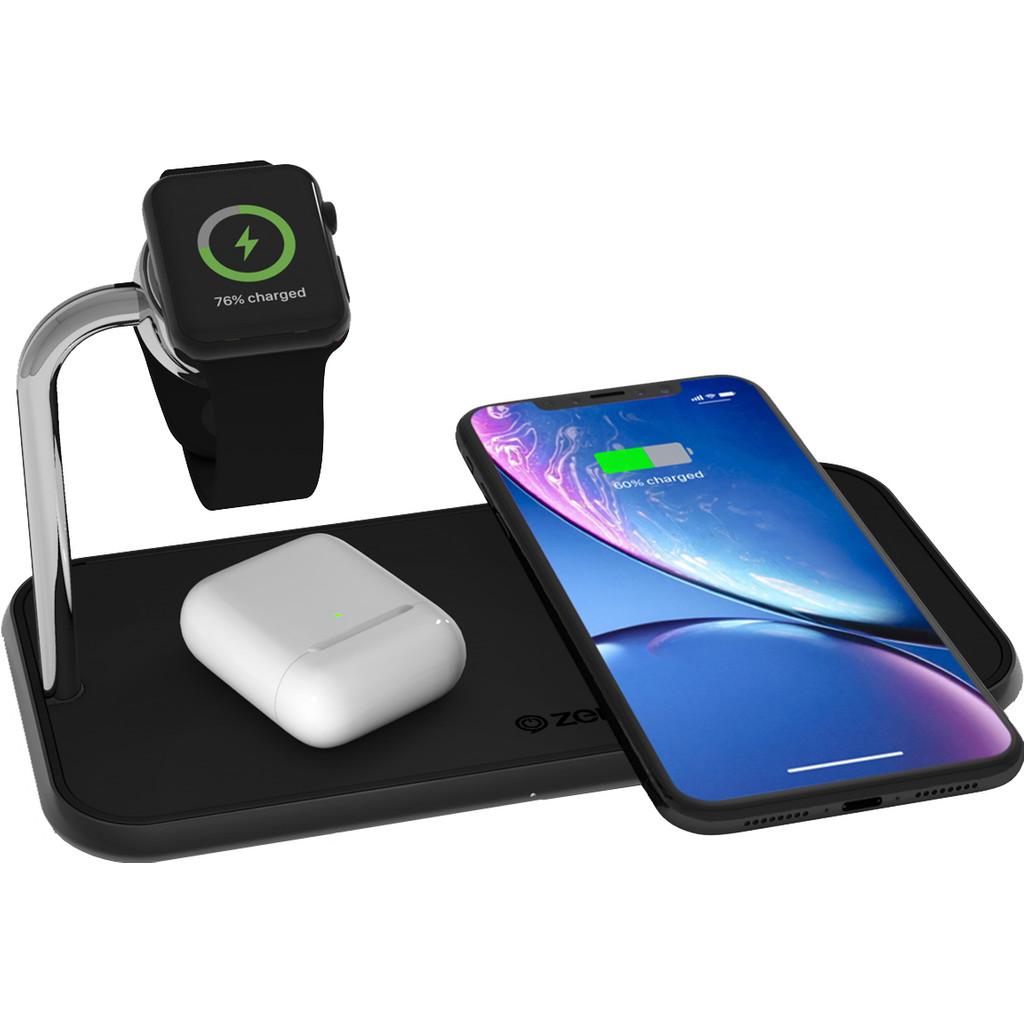 Tweedekans ZENS Dual & Apple Watch Aluminium Draadloze Oplader 10W Zwart Tweedehands