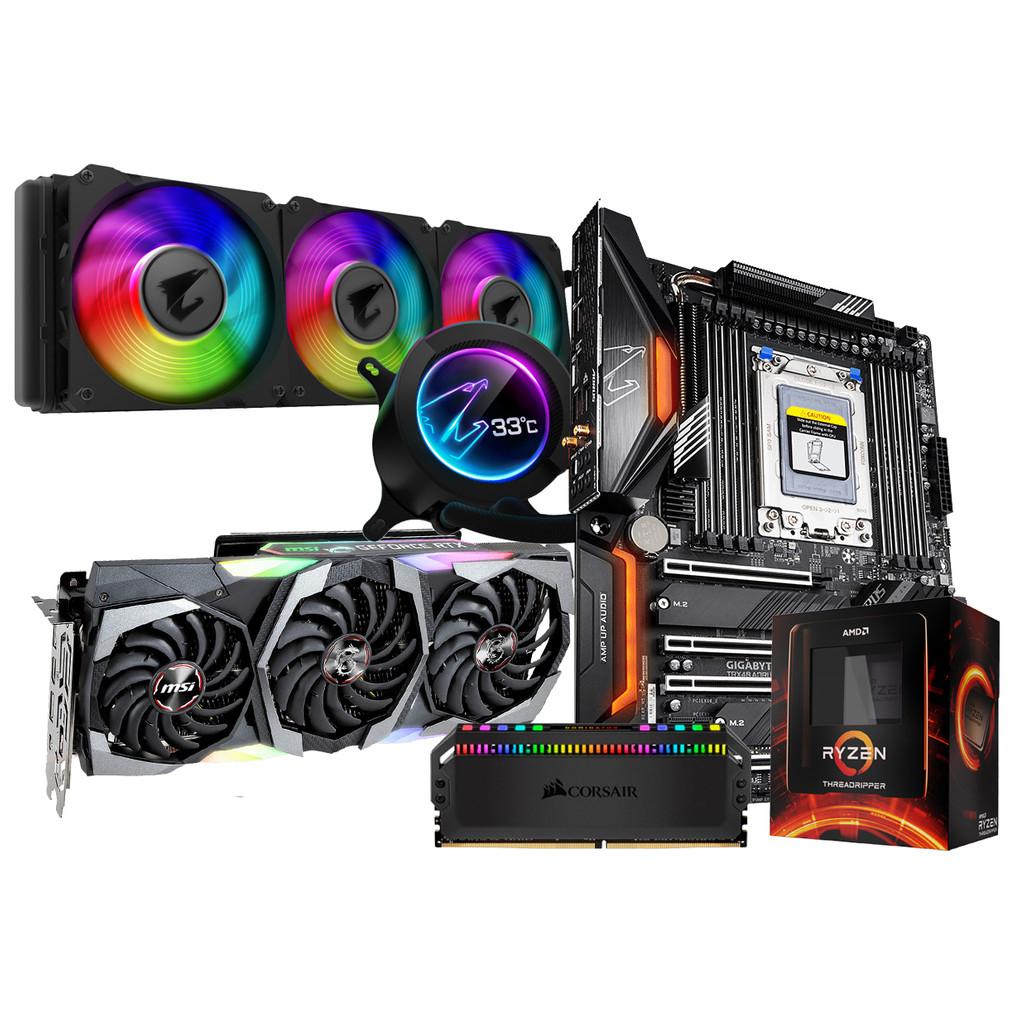 AMD Ultimate Upgrade Kit + MSI 2080 Ti Gaming X Trio-AMD Threadripper 3960X  TRX40 AORUS PRO WIFI  Dominator Platinum RGB 32GB DDR4 DIMM 3200 MHz 2 x 16