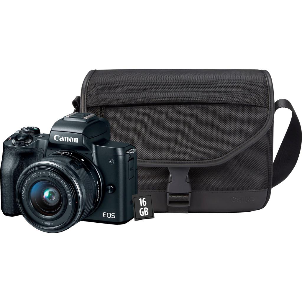 CANON EOS M50 + 15-45mm IS STM + draagtas + 16 GB + reinigingsdoekje