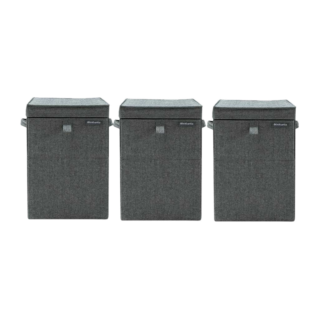 Brabantia wasboxen 35 liter:Triple Pack Pepper Black