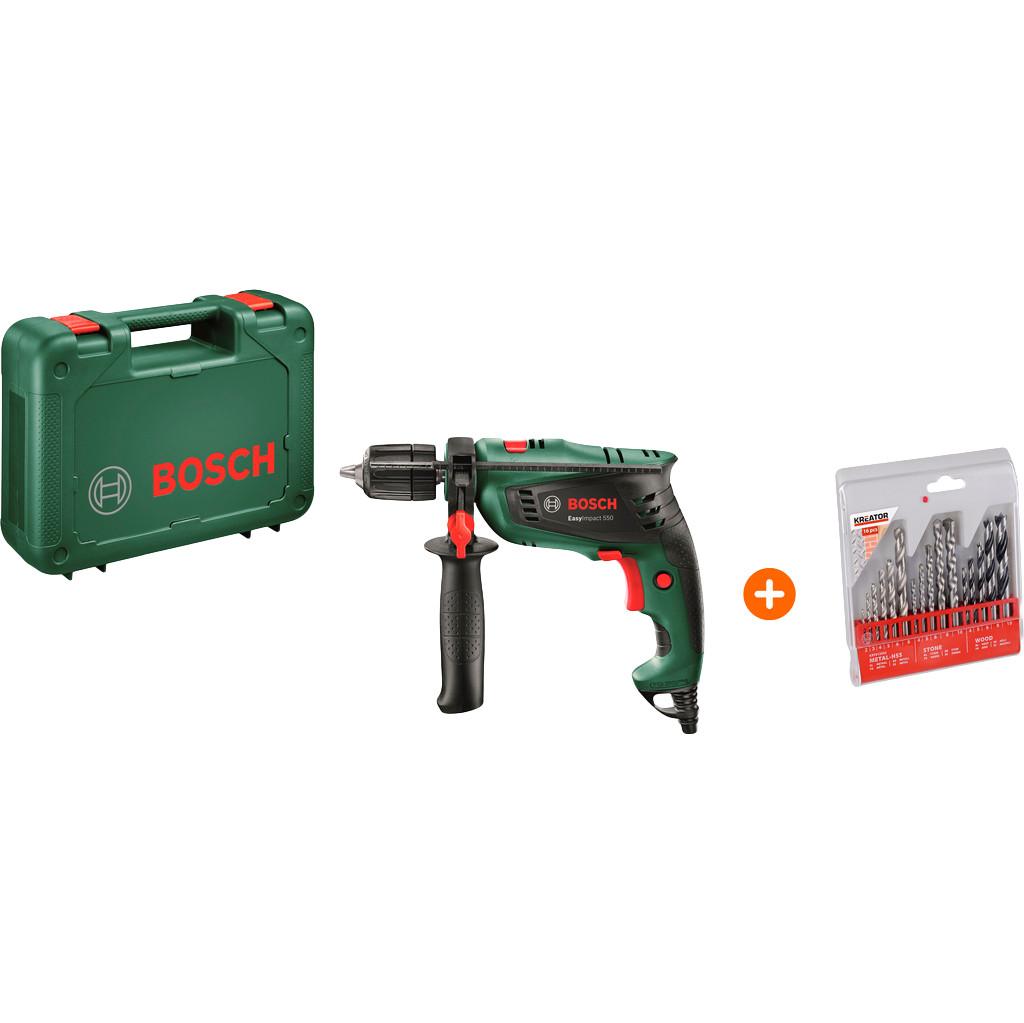 Bosch EasyImpact 550 + Kreator Borenset Metaal/Steen/Hout 16-delig