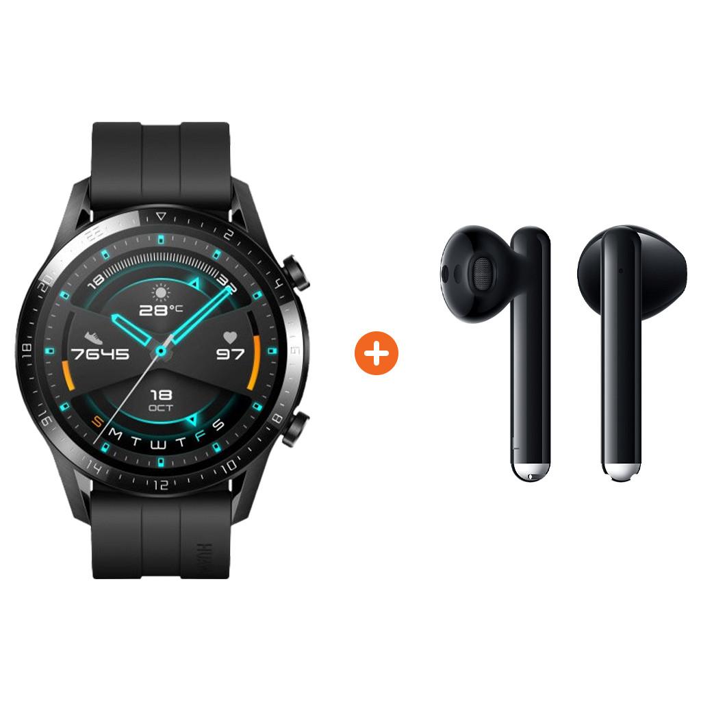Huawei Watch GT 2 Zwart 46mm Freebuds 3 Zwart Nu voor 273 euro!