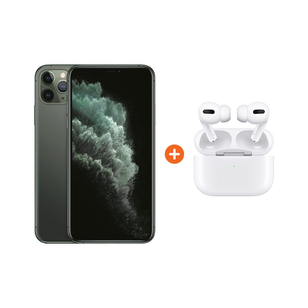Apple iPhone 11 Pro Max 256 GB Midnight Green Apple AirPods Pro met Draadloze Oplaadcase Nu voor 1658 euro!