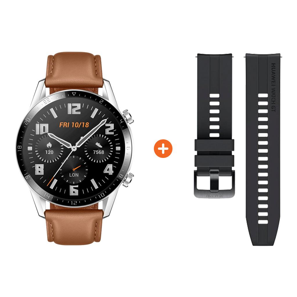 Tweedekans Huawei Watch GT 2 Zilver/Bruin 46mm Tweedehands