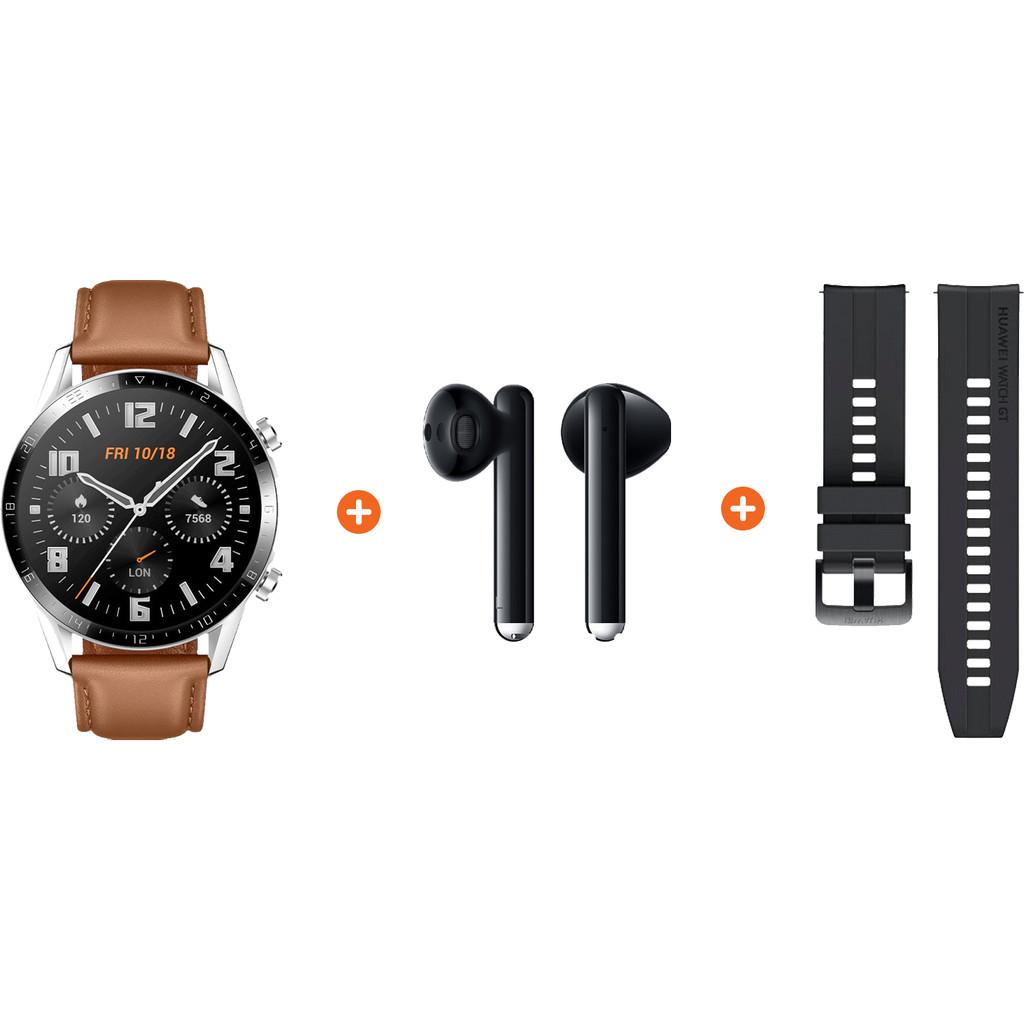 Huawei Watch GT 2 Zilver Bruin 46mm Freebuds 3 Zwart Nu voor 293 euro!