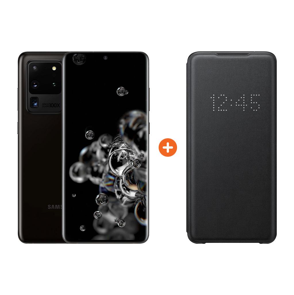 Samsung Galaxy S20 Ultra 128GB Zwart 5G + Samsung Led View Book Case Zwart-128 GB opslagcapaciteit  6,9 inch quad hd scherm  Android 10.0