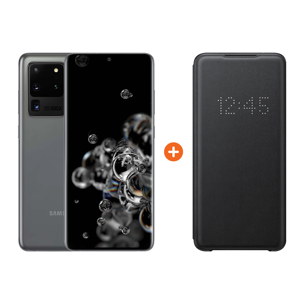 Samsung Galaxy S20 Ultra 128GB Grijs 5G + Samsung Led View Book Case Zwart-128 GB opslagcapaciteit  6,9 inch quad hd scherm  Android 10.0
