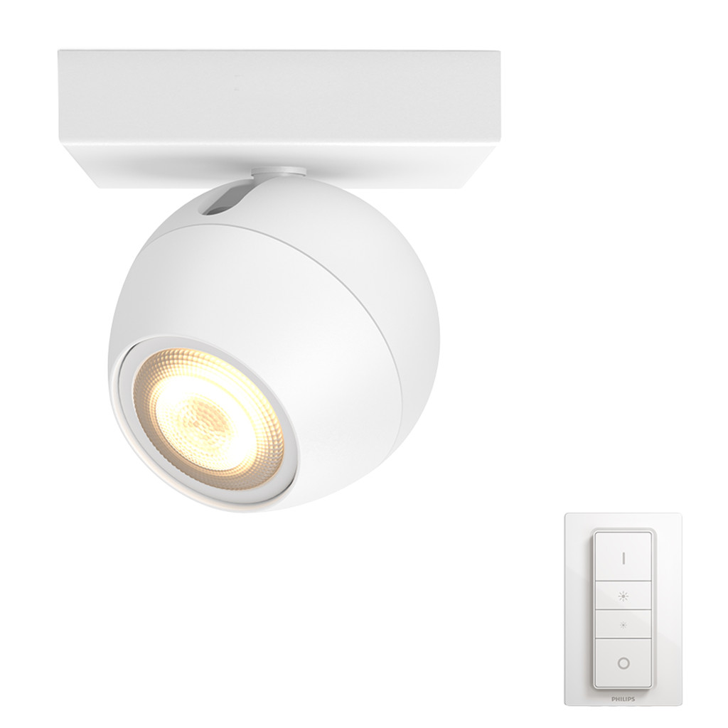 Philips Hue Buckram opbouwspot White Ambiance 1-lichts Wit + dimmer Bluetooth