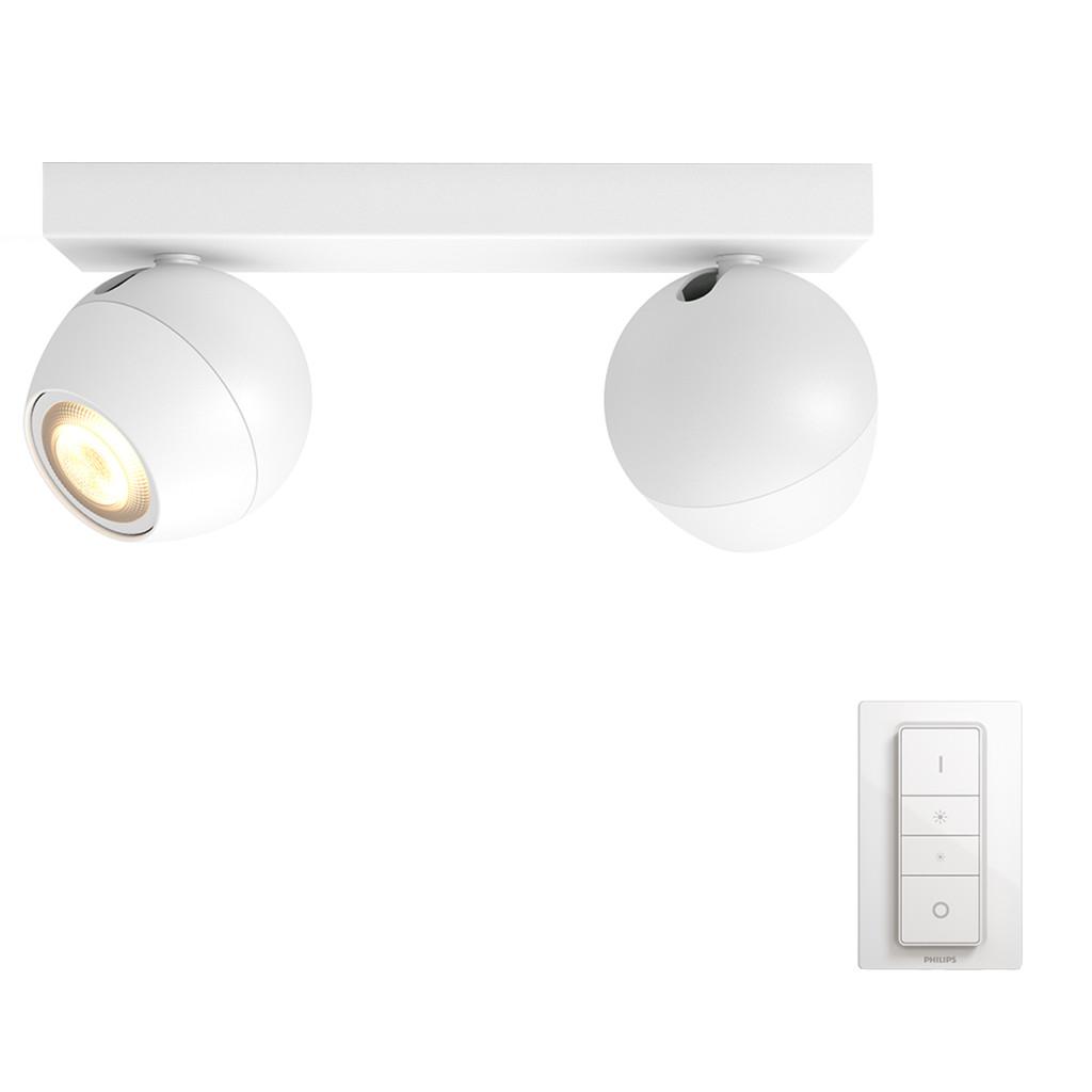 Philips Hue Buckram opbouwspot White Ambiance 2-lichts Wit Bluetooth