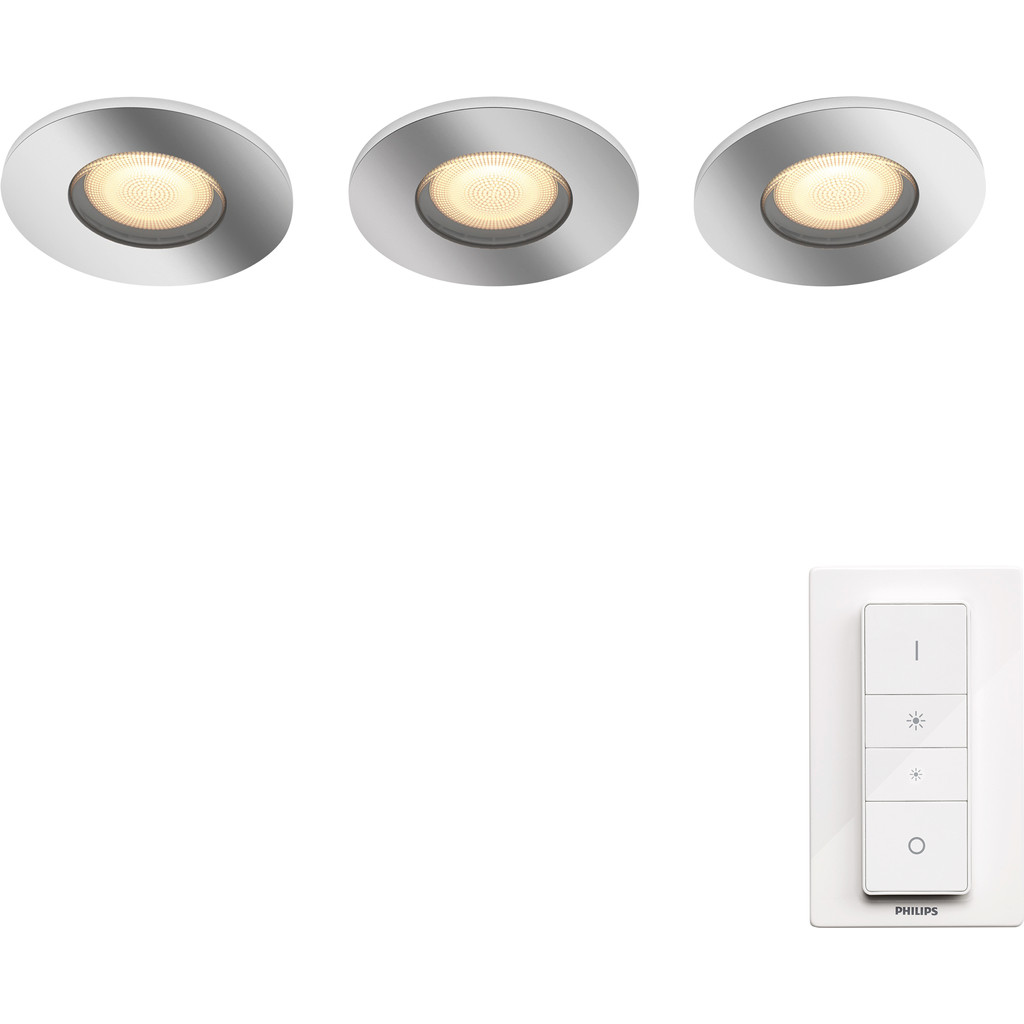Philips Hue Adore badkamerinbouwspot White Ambiance 3-pack + dimmer