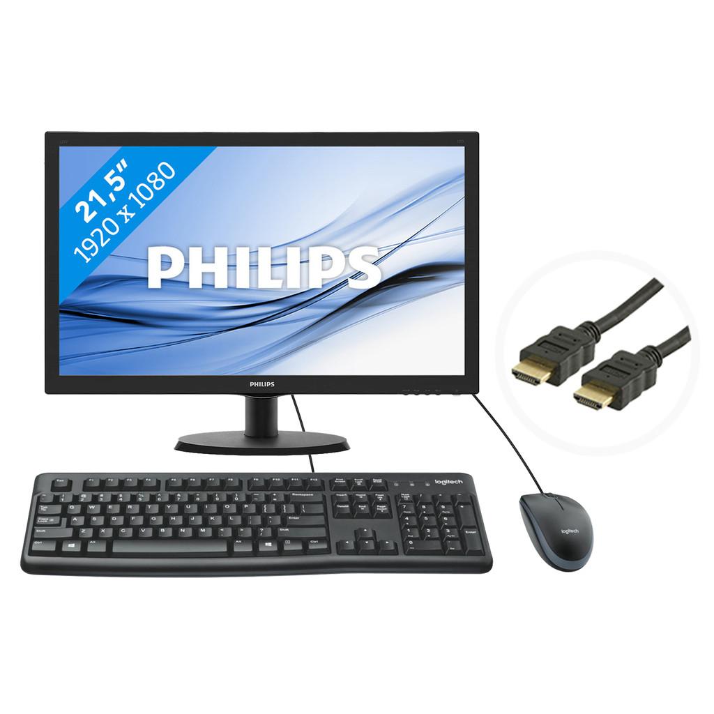 Mainstream bundel QWERTY-21,5 inch  1920 x 1080 resolutie  HDMI en VGA  TN paneel  5 ms reactietijd