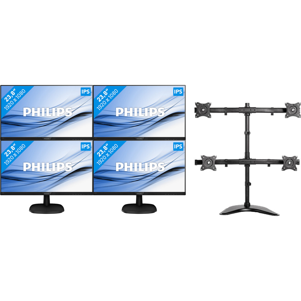 Philips 243V7QDAB 4 Monitoren set up met NewStar monitorarm