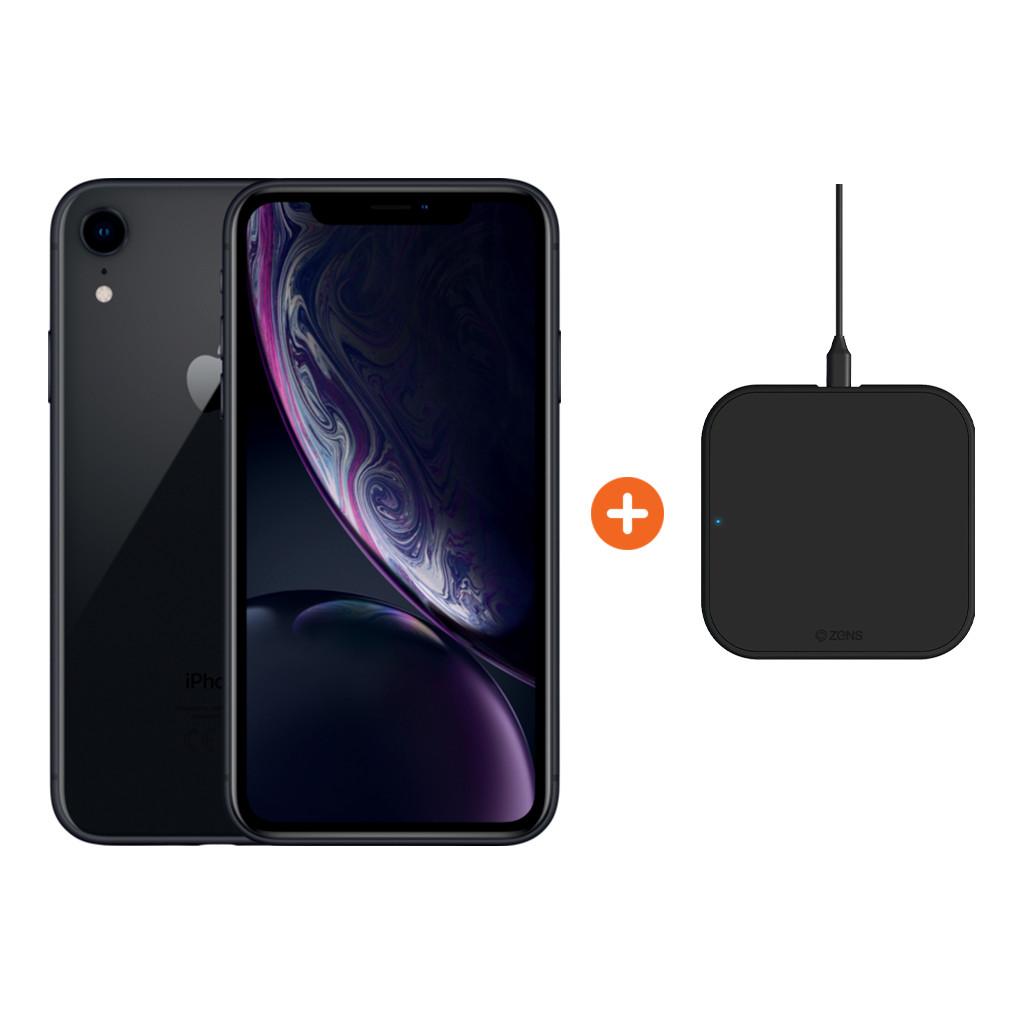 Apple iPhone Xr 128 GB Zwart + ZENS Slim Line Draadloze Oplader